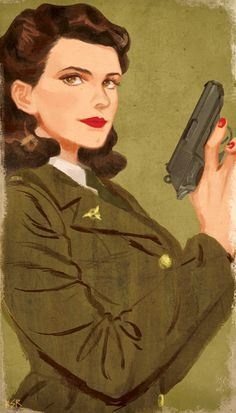 [Image: Peggy Carter smiling and holding a gun.]kimseorim:sort of commissioned work