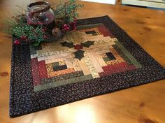 Christmas Table Topper /Log Cabin Table Topper with Holly and