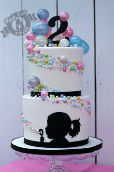 Amazing bubble cake by High Five Cakes w/personalized silhouette of the birthday girl Bubble Cake, Bubble Party, Bubble Birthday, Cake Birthday, Birthday Kids, Fondant Birthday Cakes, Amazing Birthday Cakes, Happy Birthday, Cute Cakes