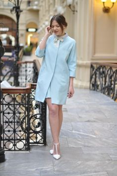 Photo by Juliet Polilova, Russian Doll Moschino spring 2014 collection look - pastel blue coat and dress with a white bow and Zara white heels.