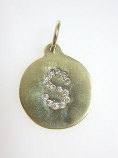 HELEN FICALORA 14kt Yellow Gold Diamond Letter S Initial Circle Charm Pendant at www.ShopLindasStuff.com