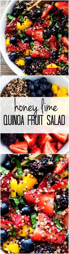 This Honey Lime Quinoa Fruit Salad is SO refreshing with fresh fruit and the honey lime. All clean eating ingredients are used for this quinoa recipe. Pin now for a healthy lunch or dinner option later. Quinoa Fruit Salad, Lime Quinoa, Avocado Salads, Fruit Salads, Fruit Drinks, Chopped Salads, Jello Salads, Fruit Snacks, Think Food