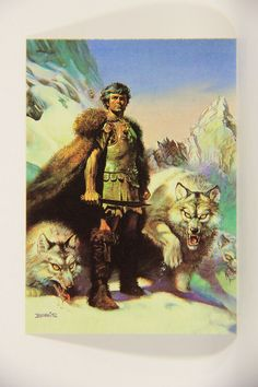 L010239 Boris Vallejo 1991 Card / Lord Of The Wolves - 1981 - Card #42 / ARTWORK
