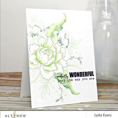 Altenew Peony Bouquet & You Are (sentiment) card
