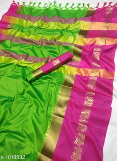 Sarees Fancy Soft cotton Silk Saree  *Fabric* Saree - Soft cotton Silk , Blouse - Soft cotton Silk  *Size* Saree - 5.5 Mtr Blouse - 0.8 Mtr  *Work * Zari weaving Work  *Sizes Available* Free Size *   Catalog Rating: ★3.9 (5967)  Catalog Name: Solid Sana Cotton Silk Sarees with Tassels and Latkans CatalogID_122576 C74-SC1004 Code: 385-1018532-