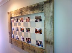 Greg made this frame from old pallet wood & some thin wire - Love!