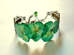 Pulsera verde de la planta real de regalo para su por ArtOreCrafts