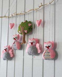 craftpassion.com, Sew A Nursey Owl Mobile, felt, baby, DIY, vilt, uil, uil mobiel, babykamer, baby, kraamcadeau