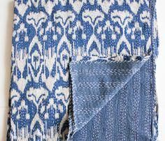 Blue Ikat Quilt for boys room