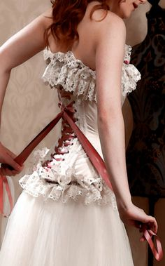 Love corset lace up wedding dresses