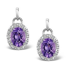 Amethyst 3.49CT And Diamond 9K White Gold Earrings - Item H4490. #thediamondstoreuk #amethystearrings #amethyst #earrings #diamonds