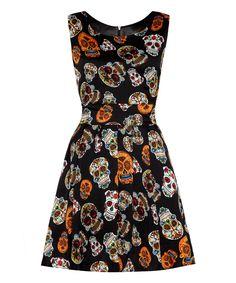 Black Candy Skull Fit & Flare Dress