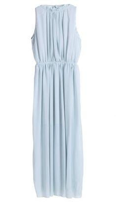 Blue Sleeveless Backless Pleated Chiffon Dress