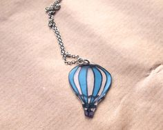 Hot Air Balloon pendant necklace / Shrink Plastic / Handmade / Silver plated chain / Unique illustration