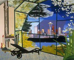 Dexter Dalwood, Kurt Cobain's Greenhouse, 2000 Oil on Canvas. 214 x 258 cm Dexter Dalwood, Saatchi Gallery, Wallpaper Magazine, Royal College Of Art, Gcse Art, Kurt Cobain, Cool Artwork, Painting & Drawing, Painting Prints