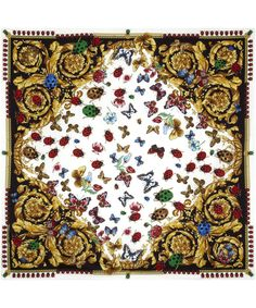 Black and White Ladybird Print Silk Scarf, Versace. Shop the latest scarves from… Versace Fashion, Liberty Scarf, Versace Scarf, Pineapple Wallpaper, Cooling Scarf, Butterfly Scarf, Silk Scarves, White Scarves, Floral