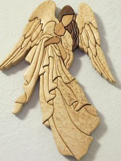 Intarsia but could be duplicated in clay Intarsia Wood Patterns, Clay Angel, Wood Angel, Pottery Angels, Ceramic Angels, Intarsia Woodworking, Scroll Saw Patterns, Angel Ornaments, Wood Creations