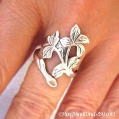 Spring Leaf Ring Adjustable Long branch Ring by RingRingRing