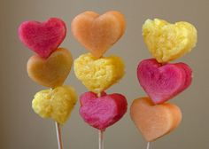 Heart Shaped Fruit Kabobs...A healthy snack alternative for a classroom Valentine's Day party!