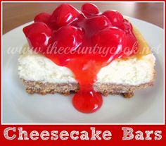 Cheesecake Bars {make a cheesecake bar, let everyone top with whatever they like! blueberries, caramel, strawberries, ehatever!}
