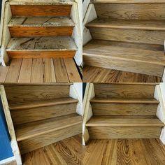 Newly installed sand and finished half staircase for this 5 inch red oak custom stain project. #redoak #hardwoodfloor #woodfloor #hardwood #naturalfloor #naturalstain #woodflooring #woodfloors #hardwoodfloors #flip #remodel #restoration  #woodfloor #woodworking #ccf #woodgrain #bona #lagler
