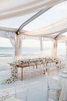 Beach rent wedding reception decor idea www.deerpearlflowers.com/ #beachwedding #beachchic