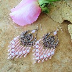 Boho Pale Pink Fairytale Earrings, Storybook Chandelier Earrings, Fairy Dust Sparkles, Original Handmade Bohemian Jewelry by Kaye Kraus