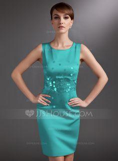 Sheath/Column Scoop Neck Knee-Length Sequins Zipper Up Regular Straps Sleeveless No Silver Summer General Plus Satin Mother of the Bride Dress