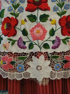 Kalocsa folk costume, detail of apron