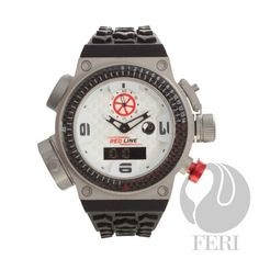 FERI RED Line Nitro - Swiss Movement - Titanium case - Steel case with Genuine Carbon Fibre - Silicon Strap with square buckle - All dial is white with Carbon Fibre Pattern, Red & black accents - 10 ATM Investment Firms, Investment Companies, Selling On Pinterest, Black Accents, My Collection, Casio Watch, Luxury Watches, Carbon Fiber, Fashion Brand