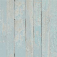 Pastel blue faux wood stained plank home wallpaper R2595 Tinted Wood is a faux finish vertical wood plank textured wallpaper with a washed painted look. Its texture and subtle details give it a highly realistic and three-dimensional faux finish look.
