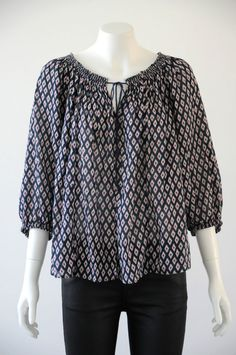 Country Road  Women s 100% Cotton Scoop Neck 3/4 Sleeve Blouse {Size XS /8}