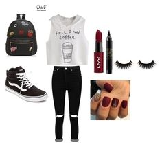 """""""Comfy outfit"""" by steffie-welvaert on Polyvore featuring mode, Vans, Boohoo, NYX, MAC Cosmetics en Ollie & B"""