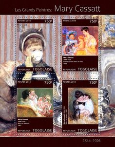 "TG 14308 a Mary Cassatt (""Tea"" ""Children with a cat"" ""Mother and Children"" ""Mother and Child"" Mary Cassatt, Mother And Child, Baseball Cards, Children, Stamps, Painting, Cat Breeds, Child, Mother Son"