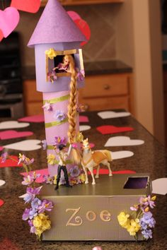 My daughter's Rapunzel tower Valentine box! #rapunzel