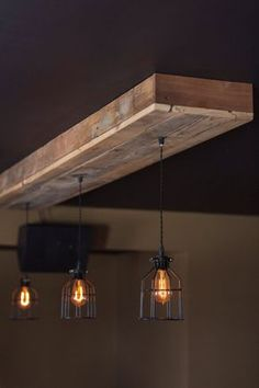 Add a rustic, industrial feel to your home, restaurant, bar or wherever with a reclaimed barn wood light fixture. Wood is reclaimed from 100+ year old barns from the Midwest. Approximate Size and number of cage lights 48x16x4 with 3 caged Edison lights 60x16x4 with 4 caged lights