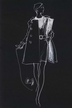 Kenneth Paul Block Week 2 Coloured Pencil From America n. white pencil on black paper the harsh lines/blocks of colour features on the upper portion of the coat gives the simple drawing more depth. Illustration Techniques, Illustration Mode, Fashion Illustration Sketches, Fashion Sketchbook, Fashion Design Sketches, David Downton, Moda Fashion, Fashion Art, Fashion Black