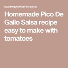 Homemade Pico De Gallo Salsa recipe easy to make with tomatoes