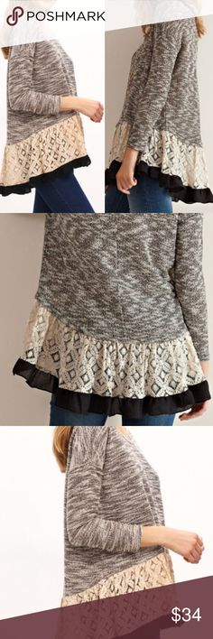 Grey Contrast Beige Lace Hem Trim Top. Price firm. Grey and beige contrast top with beige lace and black trim. 3/4 length sleeves. Scoop neck. Material-Polyester. (#4701) Boutique Tops