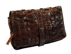 LWM-460 This the 2015 Weaving Mesh Hand clutch - all leather, available with or without shoulder strap in Cognac, Dark Brown & Black