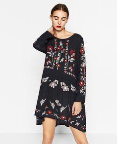 2017 Za New Fashion Brand Floral Embroidered Dress Round Neck Long Sleeve Elegant Vintage Black Dress Women Vestidos C16168