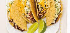 Tacos végétariens - Ricardo.  Très bon ! J'ai ajouté une demie enveloppe d'assaisonnement à Taco réduit en sel. Et râpé du cheddar 5 ans au lieu du jaune.  Miam miam.