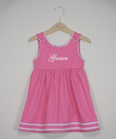 Pink & White Personalized A-Line Dress - Infant, Toddler & Girls