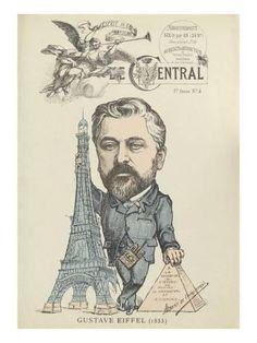 """Giclee Print: Caricature de Gustave Eiffel, parue dans """"le Central"""" : 24x18in"""