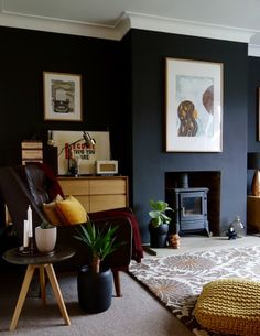 Dark living room wall