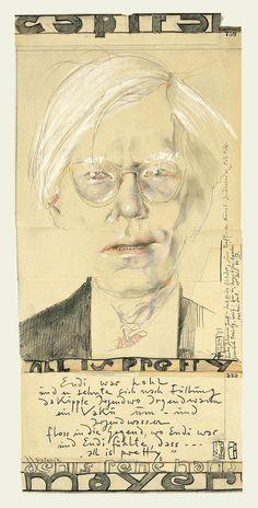 """Verlag - Shop - Galerie und Verlag St. GertudeAndy Warhol - All is pretty, Plakat - Offsetdruck, 1979, 60 x 30 cm Lange Zeit war es vergriffen - nun wurde das Plakat nachgedruckt und kann wieder bei St. Gertrude bestellt werden! Plakat zu einem Entwurf in Pastell und Farbstift über Bleistift für eine Veranstaltung der Zeitschrift """"Capital"""" mit Andy Warhol und Ausstellungsplakat der Galerie Denis René/Hans Mayer, Hamburg, 7. bis 22. November 1979."""