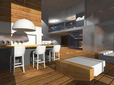 Projekt domu jednorodzinnego-widok na wine bar