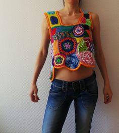 Ganchillo - patchwork freeform top - moda de boho hippie - listo para enviar - tamaño S-M - o hecho por encargo