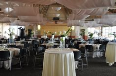 With the eye of Aaron Carlson Designs, the ceiling of the Nebraska Champions Club was transformed for this wedding. http://www.huskeralum.org/s/1620/index.aspx?sid=1620&gid=1&pgid=433