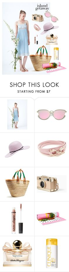 """""""Chic Island Getaway"""" by astellaatelier ❤ liked on Polyvore featuring Salvatore Ferragamo, Balenciaga, Kate Spade, Charlotte Russe, Dolce&Gabbana and Clinique"""